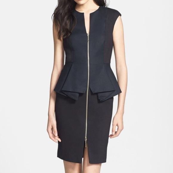 Ted Baker Dresses New Peplum Black Dress Sz 1 Fits Us 0 Poshmark